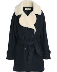 Maison Kitsuné - Double-breasted Shearling-trimmed Belted Wool-blend Coat - Lyst