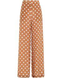 Zimmermann Hose mit weitem bein aus crêpe de chine mit polka-dots - Braun