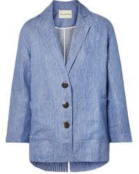 Mara Hoffman Fatima Embroidered Striped Organic Linen-twill Jacket - Blue