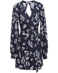 The Upside Lila Printed Woven Mini Wrap Dress - Blue