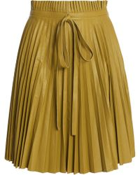 RED Valentino - Pleated Leather Mini Skirt - Lyst