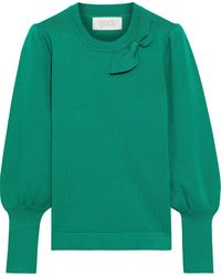 Goat Joni Bow-embellished Knitted Sweater - Green