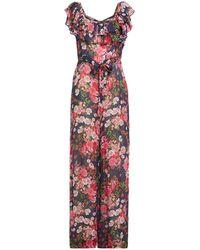 byTiMo Ruffled Floral-print Fil Coupé Crepe Jumpsuit - Blue