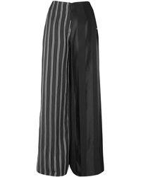 Esteban Cortazar Striped Satin Wide-leg Pants - Black