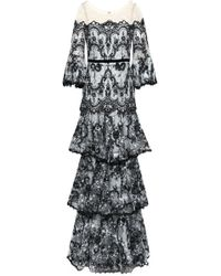 Marchesa notte Tiered Embroidered Chantilly Lace-paneled Tulle Gown Black