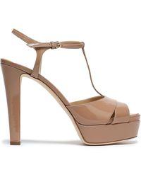 Sergio Rossi Cutout Patent-leather Platform Sandals Neutral - Multicolour