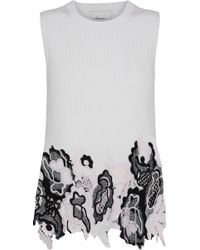 3.1 Phillip Lim - Woman Guipure Lace And Metallic Ribbed Wool-blend Top Ivory - Lyst