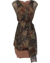Brunello Cucinelli Floral-print Silk-georgette Wrap Top Dark Brown