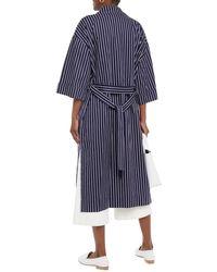 American Vintage Enkodole Oversized Striped Cotton-twill Trench Coat - Blue