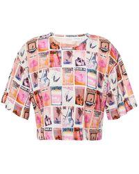 Zimmermann Wavelength Cropped Printed Slub Linen-jersey T-shirt - Natural