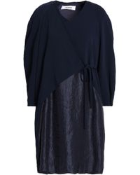 Chalayan - Panelled Hammered-satin And Crepe Wrap Dress - Lyst