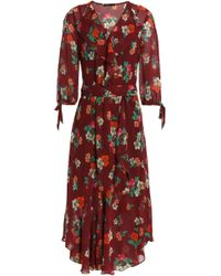 Maje - Ruffled Floral-print Georgette Wrap Dress - Lyst