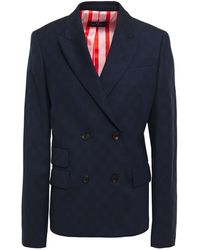 PS by Paul Smith Double-breasted Checked Wool-blend Jacquard Blazer - Blue