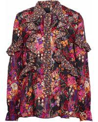 Anna Sui - Ruffled Floral-print Silk-jacquard Blouse - Lyst