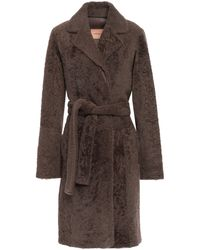 Yves Salomon Belted Shearling Coat Taupe - Brown