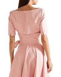 Sara Battaglia Cropped Gingham Cotton-blend Top - Pink