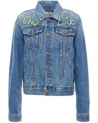 Mother The Pocket Bruiser Embroidered Denim Jacket Mid Denim - Blue