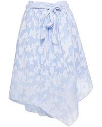 Hofmann Copenhagen Maurisa Striped Fil Coupe Cotton Wrap Skirt Light Blue