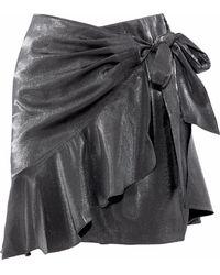 Cinq À Sept Harley Wrap-effect Metallic Woven Mini Skirt Gunmetal - Black