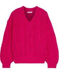 Joie Vinita Cable-knit Wool-blend Sweater Fuchsia - Multicolor