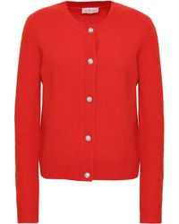 Tory Burch Embellished Wool-blend Cardigan Tomato Red