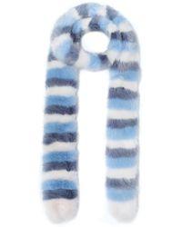 Shrimps Striped Faux Fur Scarf Sky Blue