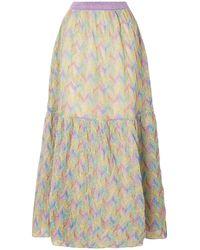Missoni Flared Metallic Crochet-knit Maxi Skirt Lavender - Multicolour