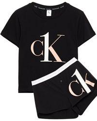 Calvin Klein Pyjama Aus Jersey Aus Stretch-baumwolle Mit Print - Schwarz