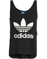 adidas Originals - Printed Cotton-jersey Tank Black - Lyst