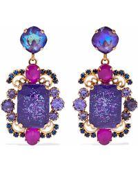 Elizabeth Cole 24-karat Gold-plated Stone And Crystal Earrings Purple
