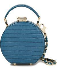 Aspinal of London Croc-effect Leather Shoulder Bag Teal - Blue