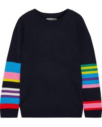 Chinti & Parker Striped Wool And Cashmere-blend Jumper Midnight Blue