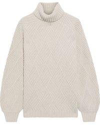 Iris & Ink Briggitte Ribbed Merino Wool-blend Turtleneck Sweater Ecru - Natural