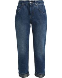 Brunello Cucinelli - Cropped Faded Boyfriend Jeans - Lyst