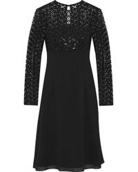 Mikael Aghal - Sequined Tulle-paneled Chiffon Dress - Lyst