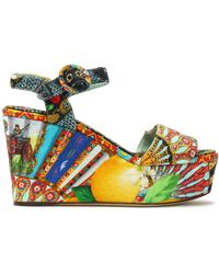 Dolce & Gabbana - Woman Printed Jacquard Platform Wedge Sandals Multicolour - Lyst