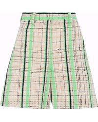 Maison Margiela Neon Checked Cotton-blend Tweed Shorts - Multicolour