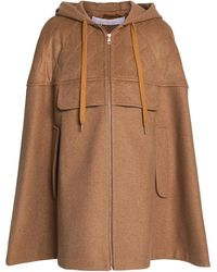 See By Chloé See By Chloé Quilted Wool-blend Felt Hooded Cape Größe Xs/s - Brown