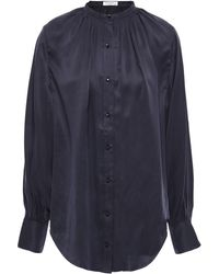Equipment Causette Washed Silk-blend Satin Blouse Midnight Blue