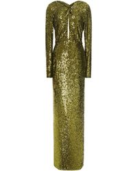 Dundas Twist-front Cutout Sequined Stretch-jersey Gown Leaf Green