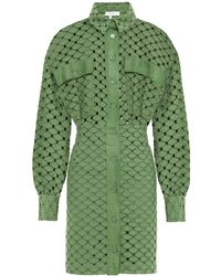 Sandro Shera Broderie Anglaise Cotton Mini Shirt Dress Army Green