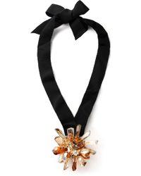 Lanvin - Grosgrain Crystal Necklace - Lyst