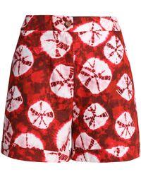 Stella Jean - Woman Printed Cotton-poplin Shorts Crimson - Lyst