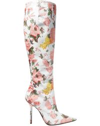 Vetements Floral-print Leather Knee Boots White