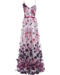 Marchesa notte Floral Tulle Gown - Purple