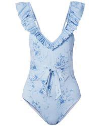 LoveShackFancy Opal Belted Ruffled Floral-print Swimsuit - Blue