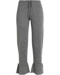 Madeleine Thompson - Ruffle-trimmed Mélange Wool And Cashmere-blend Track Trousers - Lyst