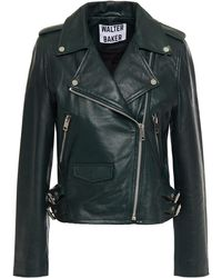 Walter Baker Liz Leather Biker Jacket Dark Green - Multicolour