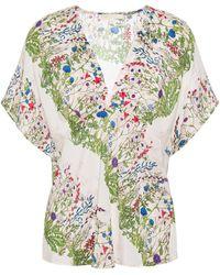 Maje Liviere Floral-print Silk Crepe De Chine Top - Multicolour