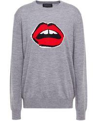 Markus Lupfer Mia Lip Merino Wool Intarsia Sweater - Grey